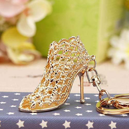 YYHMHMH Kreative Strass High Heels Auto Schlüsselbund Handtaschen Anhänger Metall Schlüsselanhänger Ring Gold (Bedeutung Zufriedenheit) (Gold Heels Und Handtasche)