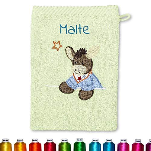 Sterntaler Kinder/Baby Waschhandschuh bestickt mit Namen, Waschlappen personalisiert zur Geburt, Taufe oder als Geschenk zum Geburtstag (Emmi Hellgrün, Unisex Mädchen Junge)