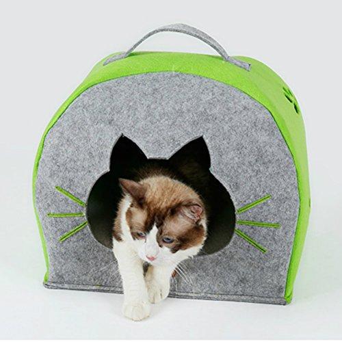 Katzenbett mit Kissen (Grau/ Grün)