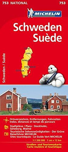 Michelin Schweden: Straßen- und Tourismuskarte (MICHELIN Nationalkarten, Band 753) (Landkarte Schweden)