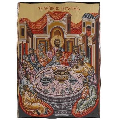 Quadro icona bizantina in legno 6X9 rappresentazione Ultima cena TANGARI MADE IN ITALY