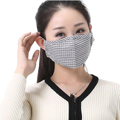 TININNA Unisex PM 2.5 Anti-Staub-Maske Klassische Plaid Muster Baumwolle Mundschutz Maske Mundschutzmasken Kälteschutz Gesichtsmaske Anti-Beschlag Anti-Fog Winddichte Maske (Grau) (Klassische Baumwolle)