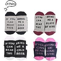 4 conjuntos de calcetines de algodón de la comodidad Calcetines de regalo de Navidad para los amantes del vino, cumpleaños, hombres, mujeres, madre o padre regalo, esposo, esposa o amigo