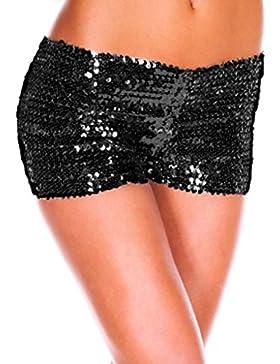 mywy - Shorts paillettes donna pantaloncini vita bassa paillettes short