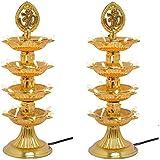 STARVIN Premium 4 Layer New Electric Gold LED Bulb Lights Diya|Deep|Deepak For Pooja|Puja|Mandir| Diwali Festival Decoration||Pack Of 2 || K-02