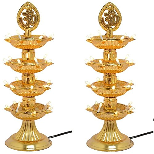 Varshine® Premium 4 Layer New Electric Gold LED Bulb Lights Diya|Deep|Deepak for Pooja|Puja|Mandir| Diwali Festival Decoration||Pack of 2 || K-04  available at amazon for Rs.399