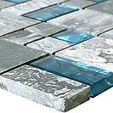 Glasmosaik Natursteinfliesen Sinop Grau Blau 2 Mix | Wandverkleidung Mosaikstein Bad Badfliesen Badezimmer Küchenspiegel