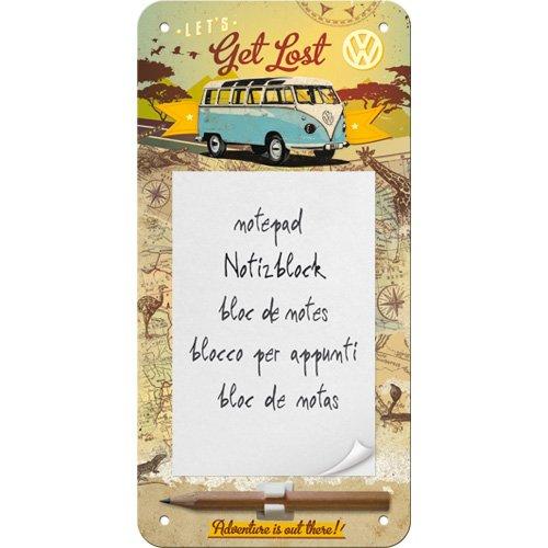 Nostalgic-Art 84030 Volkswagen - VW Bulli - Get Lost | Retro Notizblock-Schild 10x20 cm | Magnetisch | inkl. Block & Stift -