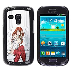 FlareStar Colour Printing Red Stockings Rehear Girl Sexy Babe Plastic shell Schutzhülle Hülle Case Cover für Samsung Galaxy S3 III MINI (NOT FOR S3!!!) / i8190 / i8190N