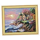 B Baosity Seaside Kreuzstich Stickerei DIY Handarbeit Stickpackung Set Stickset Stickbild, Weihnachten Geschenk - 56 × 45 cm