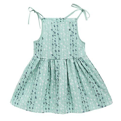 YWLINK MäDchen Volltonfarbe Klassisch Sling Sommer ÄRmellos Kleiden Blume Gestreift Prinzessin Partykleid Sommerkleid Kleidung(Grün,100) -
