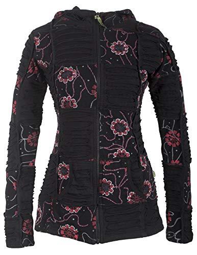 Vishes - Alternative Bekleidung - Bestickte Damen Blumen Patchworkjacke Hoodie Baumwolle Zipfelkapuze schwarz 44-46