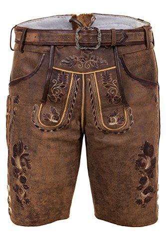 Edelnice Trachtenmode Bayerische Traditionelle Kurze Lederhose Thomas mit passendem Trachtengürtel Gr. 44-68 ? (44)