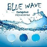 EuBeCos BLUE WAVE Farbgelset 3 x 5 ml MADE IN GERMANY in STUDIO QUALITÄT! Selbstglättend im VORTEILS-SET!