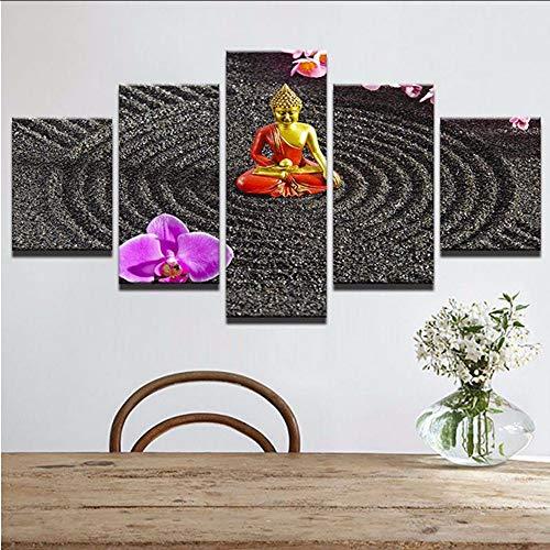 (Wuwenw Kunstwerk Poster Hd Drucke Haus Für Wohnzimmer Dekor 5 Stücke Buddha Wandkunst Religiöse Modular Rahmen Bilder Leinwand Malerei5)