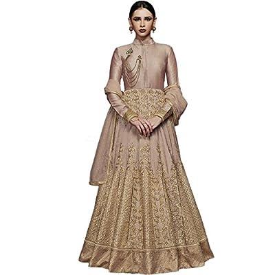 Impressed Collection Dark Beige Silk Party Wear Salwar Kameez