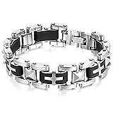 JewelryWe Schmuck Herren Armband, Edelstahl Kautschuk, Kreuz Rechteck Link Biker Armkette, Schwarz Silber
