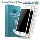 iPHONE 7 Plus Screen Protector, iPhone 8 Plus Screen Protector, Klearlook[Privacy Protection Series][3D Curve Fit] Anti-Spy and Peeping Privacy Proof Premium Tempered Glass Screen Protector With Full Coverage & Privacy Protection + [Full Coverage] Carbon Fibre Back Sticker Protector【Updated Back Protector】for iPhone 7 Plus/iPhone 8 Plus [White Frame] Lifetime Warranty
