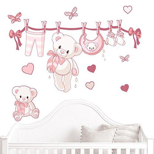 JUJU & COMPAGNIE - Kit completo Orsetto nascita composto da adesivi murali con orsetti, dimensioni: 50 x 90 cm, colore: rosa