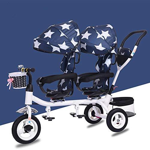 Shisky Sillas de Paseo,Triciclo Infantil Doble Silla de Paseo Doble Asiento Giratorio con un Solo botón bebé Plegable Pedal Bicicleta