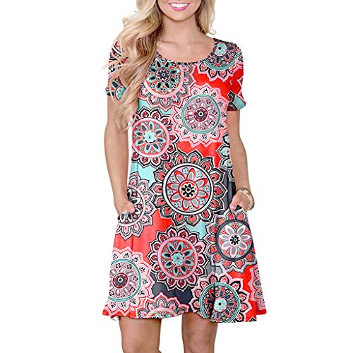 1d224bd3eb25 Women Sundress,Mosstars Ladies Sale Casual Floral Printed with Pockets  Short Sleeve Dresses Summer O