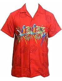 Camisa hawaiana para hombre, diseño de loros en el centro, para la playa, fiestas, verano y vacaciones