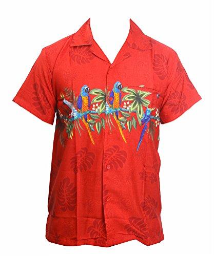Camisa-hawaiana-para-hombre-diseo-de-loros-en-el-centro-para-la-playa-fiestas-verano-y-vacaciones-XL-rosso