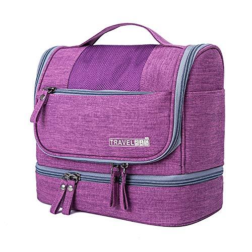 HPKC Reise-Kulturverfassungs-wasserdichter Waschbeutel Große Flache hängende Reisetaschen für persönliche Gegenstände, Shampoo, Rasierzubehör und Körperwäsche,Lila