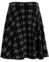New Womens Flippy Skirt Plus Big Size Plain Skirt Tartan Skater Skirt UK 14-28