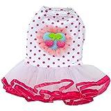 Falda del animal domestico - SODIAL(R) Falda de encaje de cachorro de perro Vestido de princesa tutu de vestido de cereza de perro (Rosa Roja L)