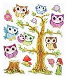 Stickerkoenig 3D Sticker XXL Wandtattoo Kinderzimmer Wandsticker - Tolle Eulen mit Baum Set III