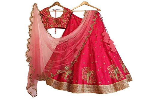 Jaksh Creation Women Banglory Silks Bollywood Designer Semi-Stitched Lehenga Choli (NewJKSh-BE10664_Red_Free Size)
