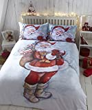 Eleanor James Weihnachtsmann Nikolaus Schnee Steppdecke Bettwäsche Set - Mehrfarbig, 200 x 200 x 0.5 cm