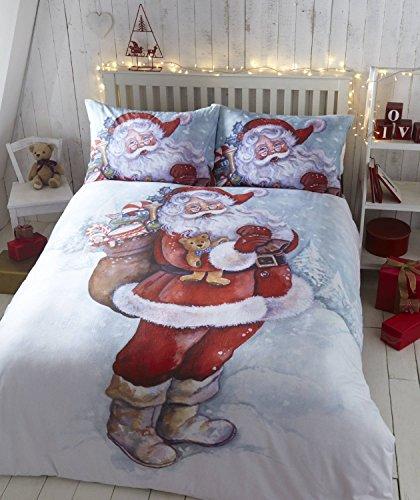 Babbo Natale in flanella letto matrimoniale set copripiumino e 2federe, Natale, rosso