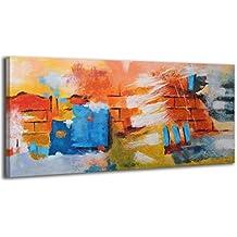 100% HANDMADE + Certificato | Quadro dipinto con colori acrilici Muro del desiderio | 115x50 cm | dipinti su tela con lettiga in legno | artigianali | Comodo fissaggio alla parete | Arte Contemporanea - Decorazione Della Parete Pittura Acrilica