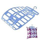 Soriace® Praktisch Wäschetrockner, Einstellbar Doppelhaken Trocknender Aufhänger Kleiderbügel Anzugbügel für Kissen, Puppen, Kleider, Schuhe, usw (Blau)