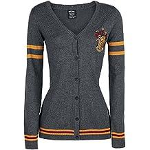 Cardigan grigio donna grifondoro Gryffindor Crest di Harry Potter lavorato a maglia con logo di (Scuola Di Hogwarts Serpeverde Casa)