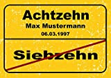 Ortsschild aus Aluminium in DIN A5, A4 und DIN A3 Geburtstag Deko Geschenk Verkehrsschild, Schildausführung:18 Jahre, Größe:A3-420 x 297