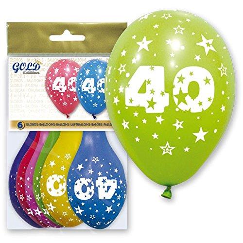 FIESTADEKOR Globo LÁTEX Impreso con EL NÚMERO 40, DIAM. 28 CM, Surtidos DE Color Pq 6 UND. Especial para Decoraciones, Fiestas de cumpleaños, Aniversarios (40 AÑOS)