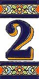 """Numero casa. Insegna con numeri e lettere fatte di piastrelle di ceramica policroma, dipinte a mano con la tecnica """"cuerda seca"""", nomi indirizzi e segnaletica. Testo personalizzabile. Disegno FLORES MEDIANO 10,9 cm x 5,4 cm. (NUMERO DUE """"2"""")"""
