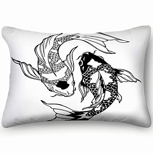 dfgi koi carp Coloring Page Yin Animals Wildlife koi Animals Wildlife Objects koi Objects Pillowcases Decorative Pillow Covers Soft and Cozy, Standard Size 20