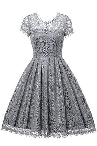 Gigileer Elegant Damen Kleider Spitzenkleid Cocktailkleid Knielanges Vintage 50er Jahr hochzeit Party (L(DE 40-42),