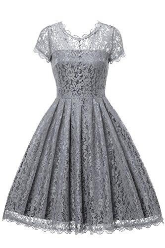 Gigileer Elegant Damen Kleider Spitzenkleid Cocktailkleid Knielanges Vintage 50er Jahr hochzeit Party (XXL(DE 48), Grau)