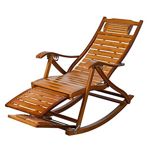 Liegestuhl HAIYU- Bambus, Holz Schaukelstuhl mit Teleskop Fußstütze und Fußmassagegerät Klappbar Garten Sonnenliege Relaxstuhl für Terrasse Balkon -