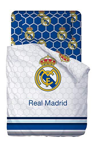Real Madrid Juego De Sabanas de 3 Piezas 160x270 + 90x200/25 + 45x110 - Cama de 90cm