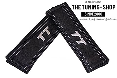2x SEAT BELT COVERS PADS SHOULDER BLACK LEATHER GREY TT EDITION FOR AUDI