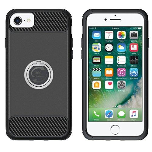 Custodia Cover iPhone 7,Ukayfe 2 in 1 TPU Silicone Custodia Cassa Gomma Soft Silicone Case Bumper Morbida Cover Ultra Sottile Leggero Custodia Flessibile Liscio Caso per iPhone 7 con Colorato Disegno  Nero