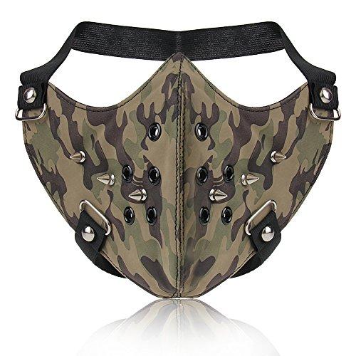 iKulilky Männer Frauen PU Leder Mode Halbe Gesichtsmaske Steampunk Maske Cosplay Anti-Dust Rivet Maske Sport Outdoor Camouflage Protective Motorrad Biker Kostüm Maske Staubmasken Kalt Mund Maske