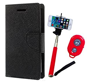Aart Fancy Diary Card Wallet Flip Case Back Cover For Motorola Moto G3 -(Black) + Remote Aux Wired Fashionable Selfie Stick Compatible for all Mobiles Phones By Aart Store