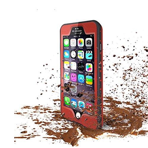 """Forepin® 10 Farben Wasserdicht hülle hart Hard Case für iPhone 6 6S 4.7"""" Original Redpepper Tauchen Unterwasser -Schutzhülle Shell Hybrid Armor Back Cover stoßfest Schwerlast Outdoor Case Tasche - sch Rot"""
